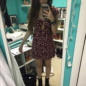 Maroon flower print dress